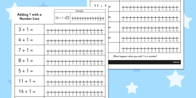 Adding 1 with a Number Line Activity Sheet - number line, add, worksheet