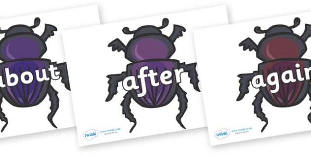 KS1 Keywords on Egyptian Beetles (Scarab) - KS1, CLL, Communication language and literacy, Display, Key words, high frequency words, foundation stage literacy, DfES Letters and Sounds, Letters and Sounds, spelling