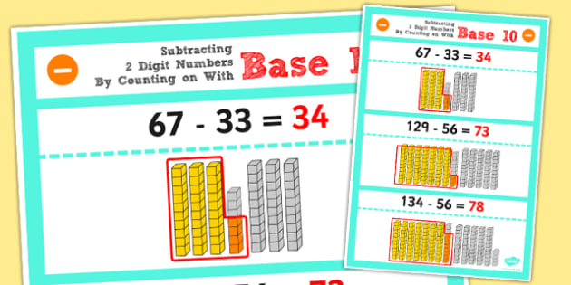 Year 2 Subtracting 2 2 Digit Numbers and Tens by Counting Base 10
