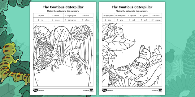 The Cautious Caterpillar Colour by Number