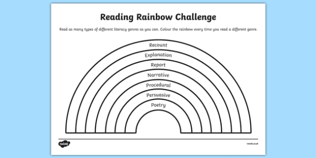 Rainbow Challenge Worksheet / Activity Sheet, worksheet