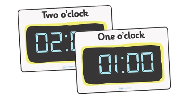 Digital Clocks Hourly O Clock Time Resource Digital Clock