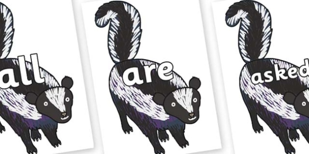 Tricky Words on Skunk to Support Teaching on The Bad Tempered Ladybird - Tricky words, DfES Letters and Sounds, Letters and sounds, display, words
