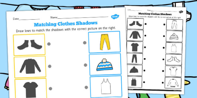 Clothes Shadow Matching Worksheet - clothes, shadow, matching
