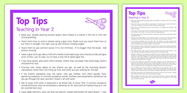 Teaching in Year 2 Top Tips
