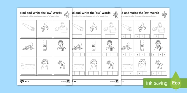 Find And Write The Aw Words Differentiated Worksheet Activity