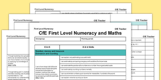Numeracy and Mathematics CfE First Level Tracker - CfE, planning, tracking, numeracy, I can, First, scotland, scottish, curriculum, excellence