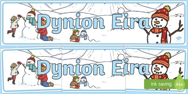 Dynion Eira Baner Arddangosfa - Y Gaeaf (Winter), Gaeaf, Arddangosfeydd, Tymhorau, Cyfnod Sylfaen, dynion eira, dyn eira, baner ardd