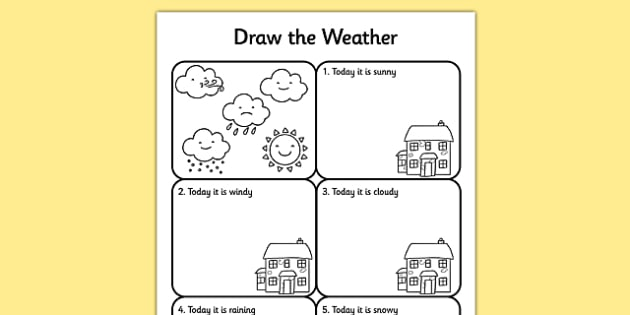 draw the weather worksheet activity sheet weather. Black Bedroom Furniture Sets. Home Design Ideas