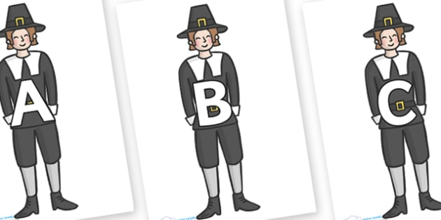 A-Z Alphabet on Pilgrims - A-Z, A4, display, Alphabet frieze, Display letters, Letter posters, A-Z letters, Alphabet flashcards