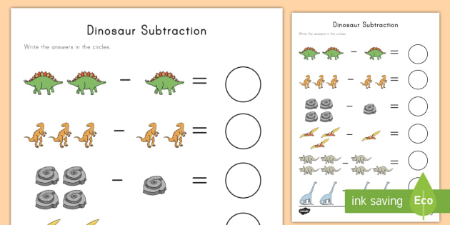 dinosaur subtraction worksheet subtraction math dinosaurs activity. Black Bedroom Furniture Sets. Home Design Ideas