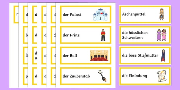 Cinderella German Word Cards