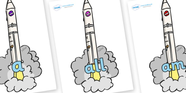 Foundation Stage 2 Keywords on Launching Rockets - FS2, CLL, keywords, Communication language and literacy,  Display, Key words, high frequency words, foundation stage literacy, DfES Letters and Sounds, Letters and Sounds, spelling