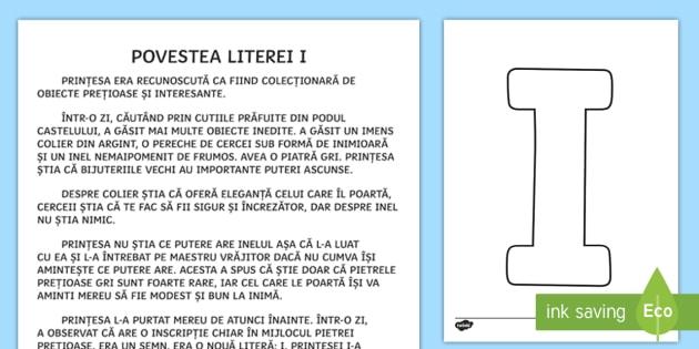 Litera I Poveste Poveste Litere Clasa Pregătitoare