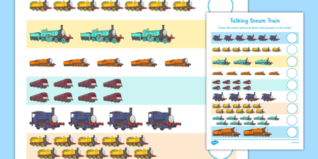 Talking Steam Train Themed Counting Sheet - thomas the tank