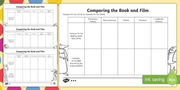 Differentiated Book and Film Comparison to Support Teaching on Fantastic Mr Fox - fantastic mr fox, roald dahl, compare, book, film