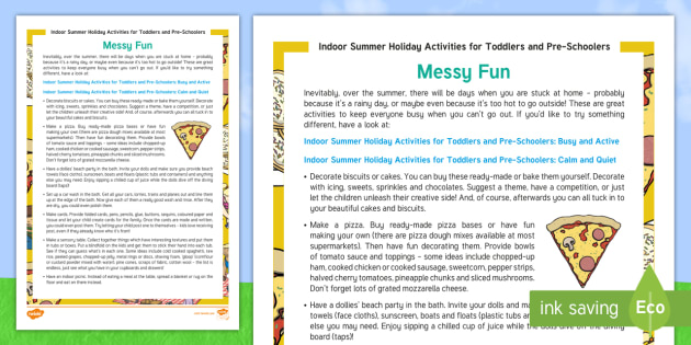 Indoor Summer Holiday Activities For Toddlers And Preschoolers Messy Fun Worksheet Activity Sheet