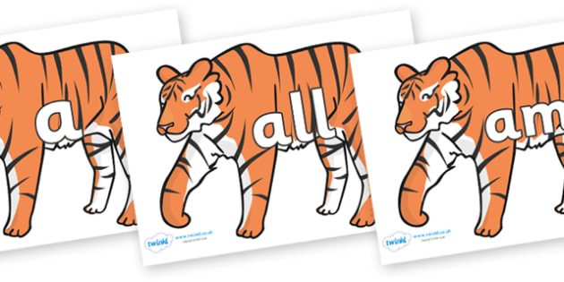 Foundation Stage 2 Keywords on Tigers - FS2, CLL, keywords, Communication language and literacy,  Display, Key words, high frequency words, foundation stage literacy, DfES Letters and Sounds, Letters and Sounds, spelling