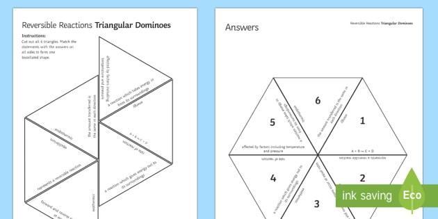 Reversible Reactions Tarsia Triangular Dominoes - Tarsia, gcse, chemistry, rates of reaction, reaction, equilibrium, reversible reaction, plenary activity
