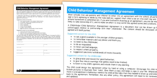 Childminder Child Behaviour Management Agreement - Childminder