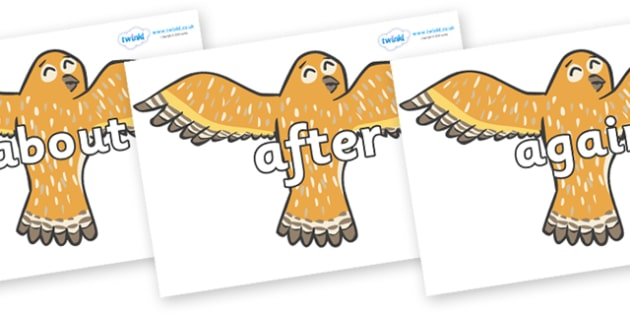 KS1 Keywords on Owls - KS1, CLL, Communication language and literacy, Display, Key words, high frequency words, foundation stage literacy, DfES Letters and Sounds, Letters and Sounds, spelling