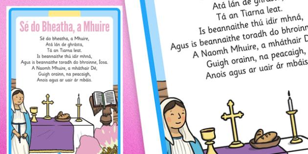 Sé do Bheatha a Mhuire Prayer - Mary, Our Lady, May, Mary in May, hail mary, religion, may altar, prayer, paidir, Muire, Sé do Bheatha, sacred space