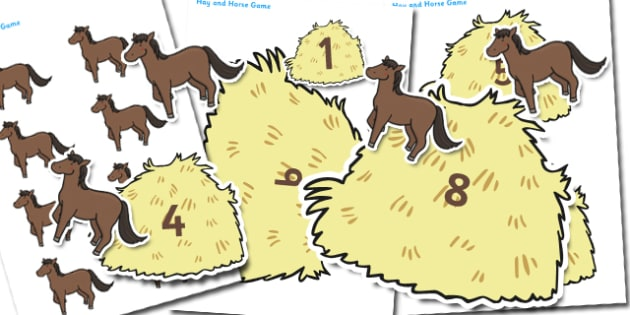 Hay and Horse Game - hay and horse, horses, animals, games, classroom games, wet play, wet play games, themed games, animal themed games, activites, game