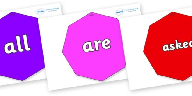 Tricky Words on Octagons - Tricky words, DfES Letters and Sounds, Letters and sounds, display, words