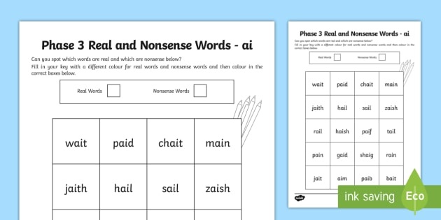 Phase 3 ai Colour by Phoneme Real and Nonsense Words ...