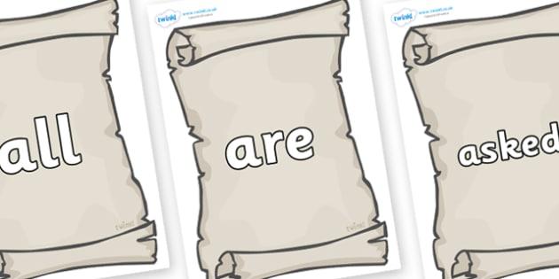 Tricky Words on Scrolls - Tricky words, DfES Letters and Sounds, Letters and sounds, display, words