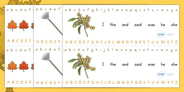 Autumn Alphabet Strip - a-z, writing aid, visual aid, spelling