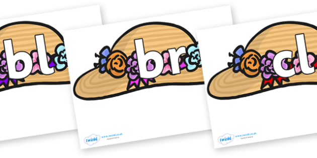 Initial Letter Blends on Bonnets - Initial Letters, initial letter, letter blend, letter blends, consonant, consonants, digraph, trigraph, literacy, alphabet, letters, foundation stage literacy