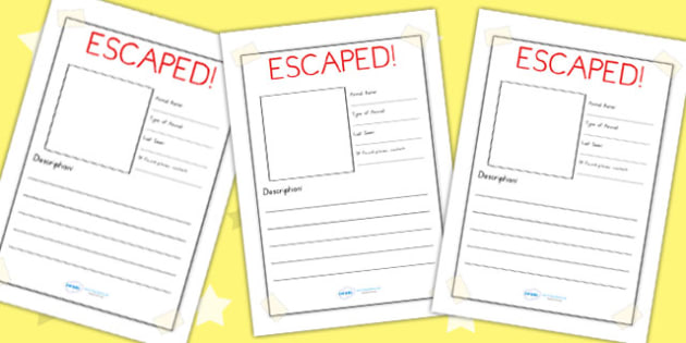 Escaped Animal Writing Frame Plain - animals, zoo, writing, write