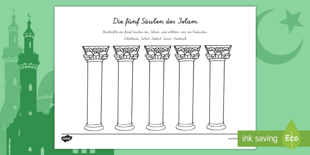 new die s ulen des islam arbeitsblatt islam moslem muslime ramadan. Black Bedroom Furniture Sets. Home Design Ideas