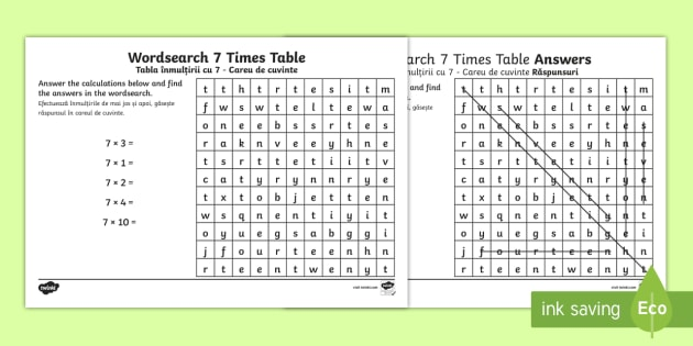 Multiplication 7 Times Tables Word Search Worksheet Activity