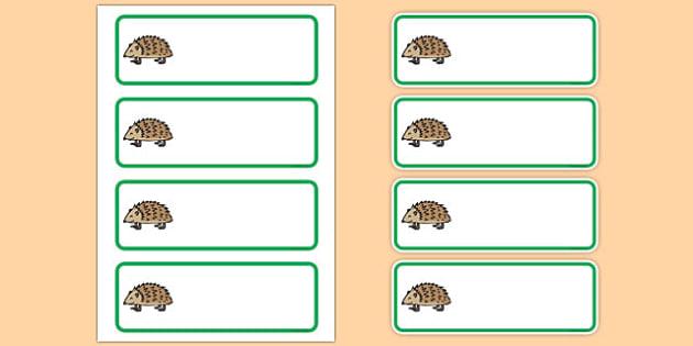 Editable Hedgehog Drawer Peg Name Labels - animals, signs, labels