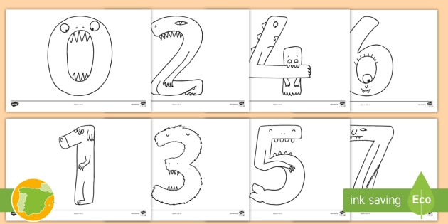 Hojas De Colorear Números Monstruosos Del 1 Al 20 Aritmética
