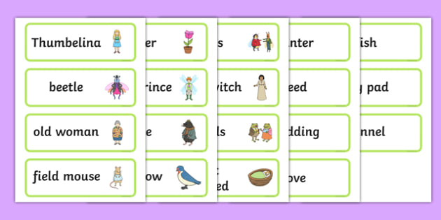 Thumbelina Word Cards - stories, books, visual aid, keywords