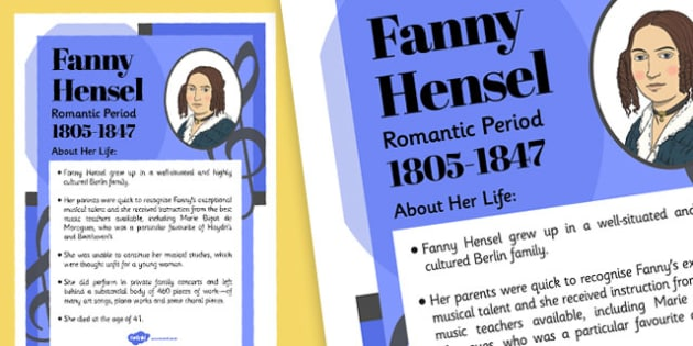 Fanny Hensel Composer Display Poster - music, female, composers, fanny, hensel