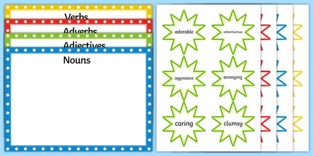 Noun, Adjective, Verb And Adverb Sorting Activity