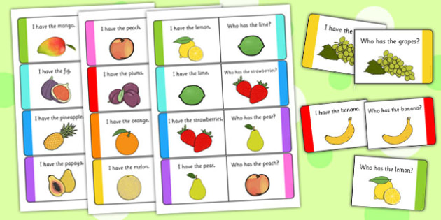 Fruit Loop Cards - fruit, loop cards, loop, cards, activity