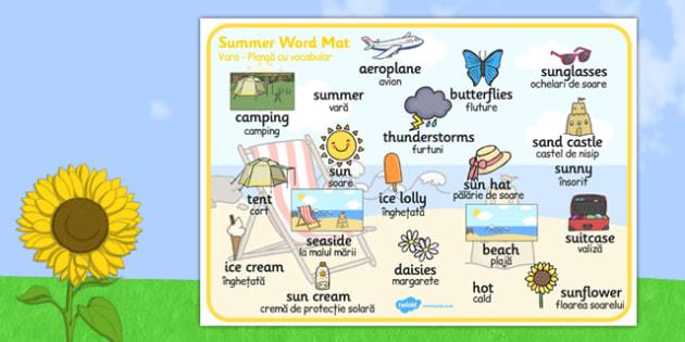 Summer Word Mat Images Romanian Translation - bilingual, sun, beach, language, speech