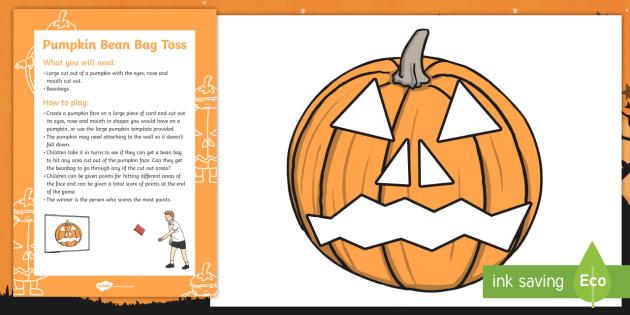 pumpkin bean bag toss halloween party game and resource pack