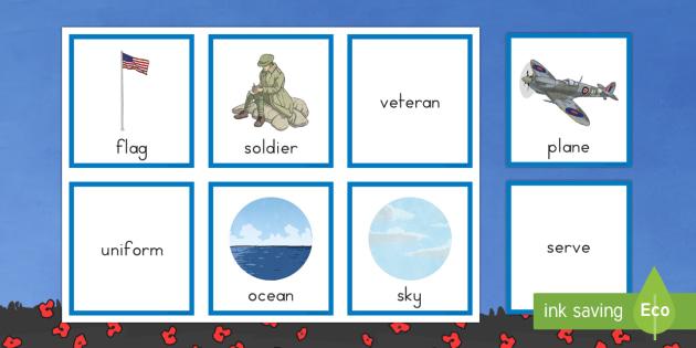 Veteran Noun, Verb and Adjective Sorting Cards