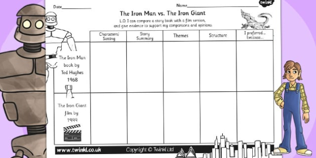 The Iron Man Comparing the Book Film Differentiated Worksheets