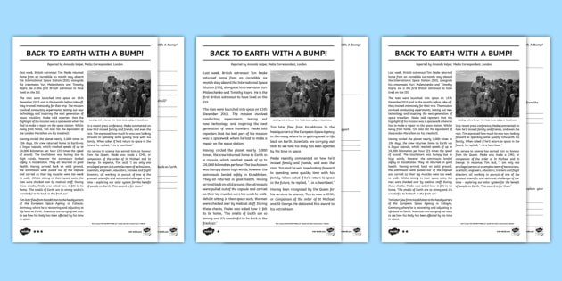 Back To Earth Newspaper Report Reading Comprehension Activity