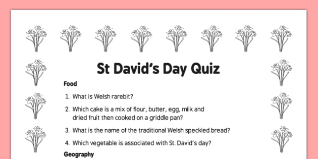 Elderly Care St David's Day Quiz - Elderly, Reminiscence, Care Homes, St. David's Day