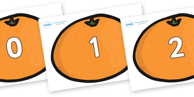 Numbers 0-31 on Satsumas - 0-31, foundation stage numeracy, Number recognition, Number flashcards, counting, number frieze, Display numbers, number posters