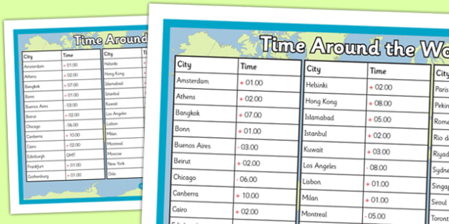 Times Around the World Poster - time zones, times around the world, time zones poster, times around the world display table, ks2 times