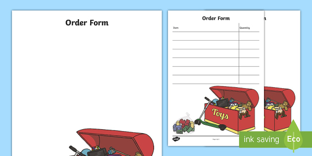 order form cartoon  Toy Shop Role Play Order Form - toy shop, role play, toy ...